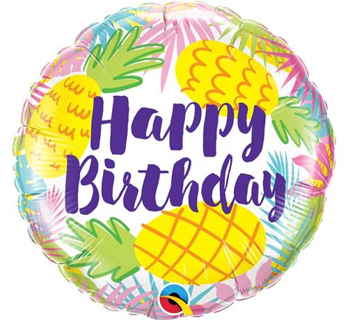 balon foliowy 18 ananas z nadrukiem happy birthday