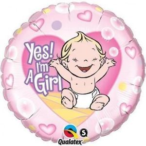balon foliowy 18 z nadrukiem yes i am a girl